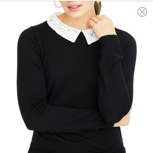 J. Crew Tippi Sweater lace collar, new with tag.